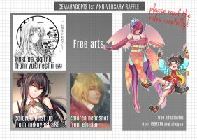 1st Anniversary Raffle!!!! [CLOSED] by CemarAdopts