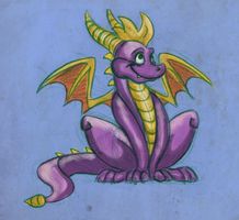 spyro coloured pencil doodle by werespyro