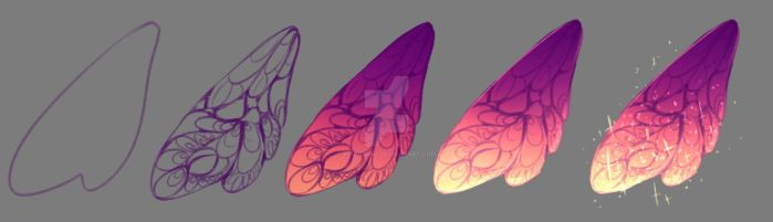 How I draw - Fairy Wings by rika-dono