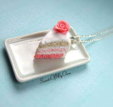 Pink Rose Layer Cake Necklace by SweetsOfMyOwn