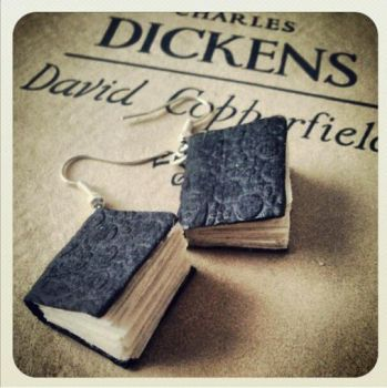 Tiny books earrings by InkKiller