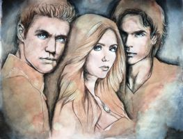 Stefan, Elena and Damon - TVD by OGiiLMountainArt