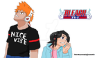 Ichigo and Rukia with Headphones by TheMuseumOfJeanette