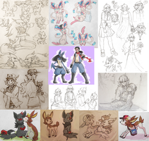 Pokemon Sketchdump V by RileyKitty