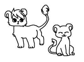 2 chibi lion cubs lineart by TheRealTilsa