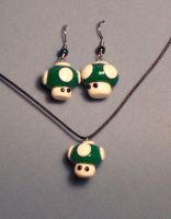 1 up mushroom jewelry set by Gimmeswords
