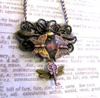 Steampunk Necklace wings purple bee by GraceCM