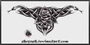 Celtic snakes and a rose by shepush