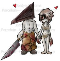 Pyramid Head x Witch colored by Porcelain--Hearts