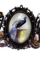 Neo Victorian Jewelry - Bracelet - Peacock Cameo by CatherinetteRings