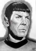 Spock (Leonard Nimoy) Star Trek Sketch Card by avintagedreamer