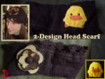 Recycled 2-Design Head Scarf: Piyo Piyo and Daisy by adnileb