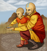 Aang and Tenzin - An Old Trick by sbrigs
