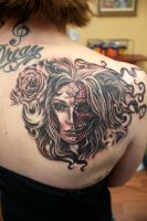 Half Face Lady Tattoo by seanspoison