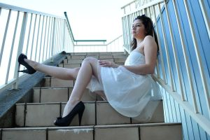 Charis - legs on steps 2 by wildplaces