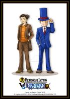Layton VS Phoenix Wright by saeko-doyle