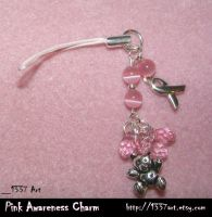 Pink Awareness Teddy Charm by 1337-Art