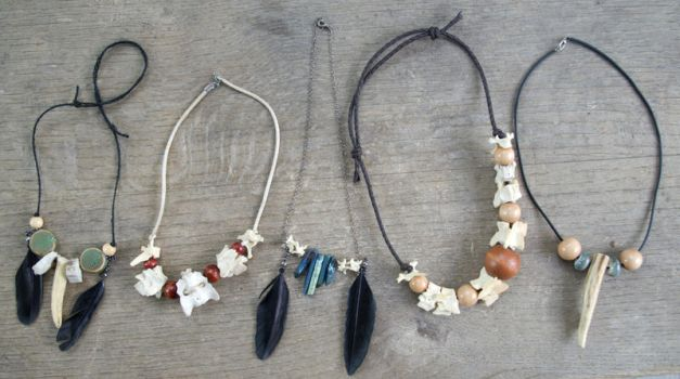 Bone and Antler Necklaces by Samishii-Kami