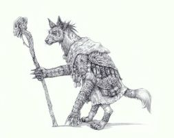 On the Shoulders of Heroes- Gnoll Shaman by eoghankerrigan