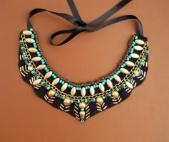 Egypt inspired collar necklace by AniDandelion