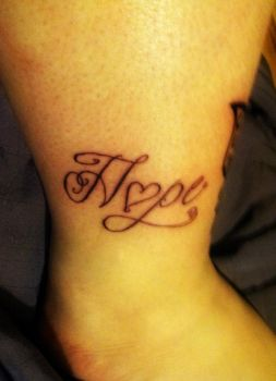 Hope with a heart Ankle tattoo by FallenSwtAngel
