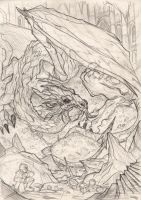 THE HOBBIT by Denis Medri - Smaug wip by DenisM79
