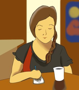 Plastic arts student at cafe. by RGB-Oier-Mania