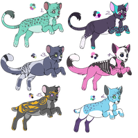 Adoptables - Cats - Group 1 by BettaRae