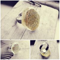 Golden Stardust Hexagon Handmade Resin Silver Ring by crystaland