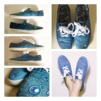 Water Droplet Hand-Painted Shoes by FanZoCreations