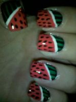 Watermelon Nails by XOMBIE-OCTOPUS-QUEEN