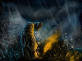 The Wanderer by the Stormy Shore at Night by Sly-Mk3