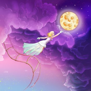 Human, clouds, moon and ladder by EmiDeClam