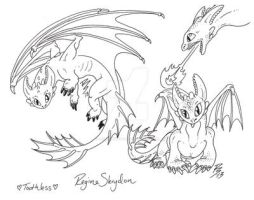 Toothless Linearts by RegineSkrydon