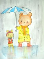 2 bears on a rainy day by fadedcolours
