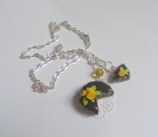 Chocolate And Roses Marble Cake Necklace by rhonda4066