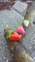 Set of 3 Strawberry Charms by MouseEmporium