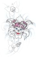 Girly Skull Design Butterfly by 2Face-Tattoo