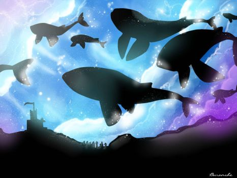 Whales in Sweet Sky by Buranshe1