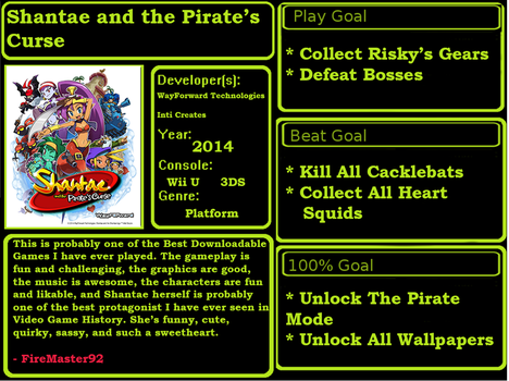 1001 Video Games - Shantae And The Pirate's Curse by FireMaster92