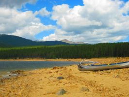 Boat on Mountain Beach by Sing-Down-The-Moon