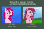 Before-And-After: Pinkie Bright by Iguanodragon