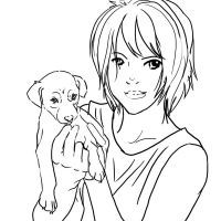 Free Girl and Puppy Lineart 1 by luar-linearts