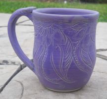 Mehndi Inspired Carved Periwinkle mug by Stormphyre