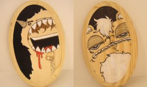 monster boy and bear plaques by loveandasandwich