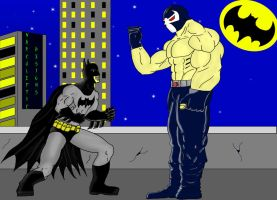 Batman vs Bane by Sleepbringer