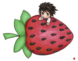 L and his Strawberry by Mhyin
