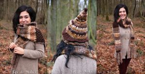 Earthy Witchy Hat and scarf by MademoiselleOrtie