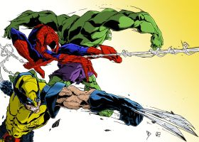 Wolverine Spiderman And Hulk Attack Colors Low by BDixonarts