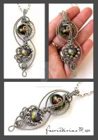 Wire tangle pendant by Faeriedivine